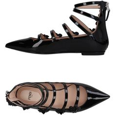 Fendi Ballet Flats ($535) ❤ liked on Polyvore featuring shoes, flats, black, black ballet shoes, ballet pumps, black ballet flats, fendi flats and black ballet pumps
