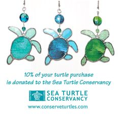 Baby Sea Turtle stained glass fan pull by lizardkey on Etsy