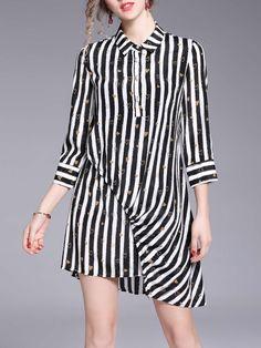 #AdoreWe StyleWe Midi Dresses - OULIE 3/4 Sleeve Casual Asymmetrical Stripes Heart Printed Silk Midi Dress - AdoreWe.com