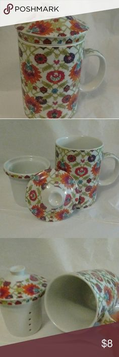 Tea Steamer Really cute cup to steam loose tea. Used once . Porcelain. Dishwasher safe. May get hot in microwave. World Market Other