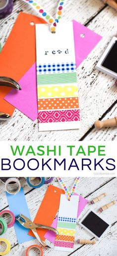 These colorful washi tape bookmarks are a fun way to keep the kids busy creating! Plus it's a great way to use up all of those scraps of paper and rolls of washi tape in the craft room! basteln, Washi Tape Bookmarks: Crafts for Kids Homemade Bookmarks, Bookmarks Kids, Magnetic Bookmarks, Washi Tape Cards, Washi Tape Diy, Masking Tape, Tapas, Diy Crafts For Teen Girls, Diy For Kids