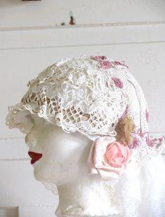 Hat Wedding Valentaine, Hat Edwrdian. Vintage Inspired Cream Lace Hat