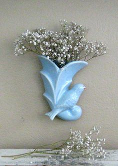 Vintage Blue Bird Pottery Wall Pocket