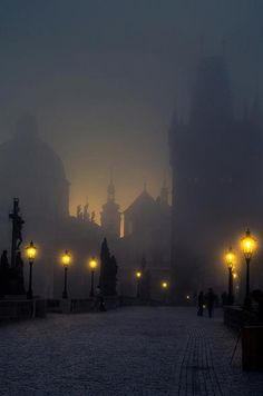 Charles Bridge, Prague. Looked a lot like this the night we crossed it a few years back!