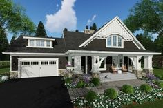 Craftsman Style House Plan - 3 Beds 2.50 Baths 2500 Sq/Ft Plan #51-586 Exterior - Front Elevation