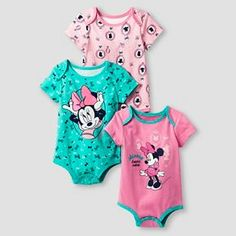 Disney® Minnie Mouse Baby Girls' 3 Piece Bodysuit Set - Pink