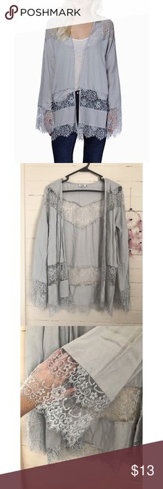 • Lace Me Up • Size= XS, grey cut out lace kimono from Tobi, beautiful bell sleeves, light weight and comfy, only small blemish is a small patch of piling on the backside from being watched, hardly noticeable ☺️  ~ I DO NOT SWAP, SO PLEASE DON'T ASK. YOU WILL BE IGNORED.  ~ I NO LONGER HOLD MY ITEMS, FIRST COME FIRST SERVE.   ~YOUR PURCHASE WILL BE SHIPPED WITHIN 24-48 HOURS AFTER PURCHASED  ~I AM MORE THAN HAPPY TO MAKE YOU A BUNDLE Tobi Tops