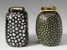 Vases approx 4 cm early 1900s by Edwin and Walter Martin Martin Brothers Stoneware Pottery 1873 - 1915 Southall Middlesex