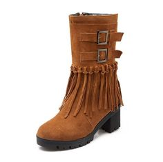 WeiPoot Women's Zipper Kitten Heels Imitated Suede Solid Mid Top Boots ** See this awesome image  : Over the knee boots