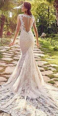 Sophicticated Backless Wedding Dresses ❤ See more: http://www.weddingforward.com/backless-wedding-dresses/ #weddings
