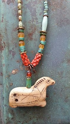 Ancient Horse Necklace, handmade horse artifact, semiprecious (turquoise) stone beads, antique trade beads by Luann Udell polymer clay ~  x