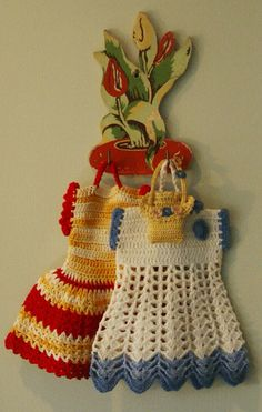 crocheted dress potholder always hanging in the vintage kitchen
