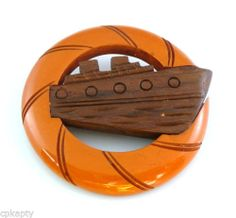 1930s Hand Carved Bakelite Wood Lucite Furniture, Sailor Fashion, Nautical Jewelry, Plastic Jewelry, Summer Jewelry, Hair Jewelry, Green And Brown, Hand Carved, Vintage Jewelry