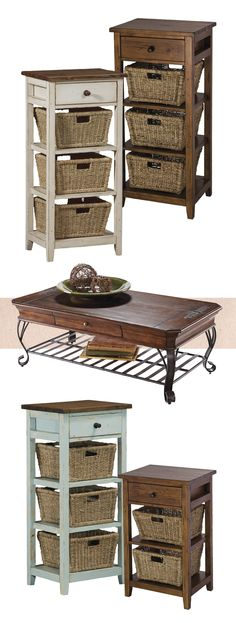 Featuring a rustic, distressed pine table, the Bruges basket stand offers a practical storage option with plenty of character.