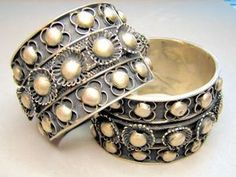 Unusual High Relief Matching Silver Cuff Arm Bracelets | eBay