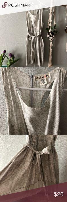 Billabong Dress Billabong dress gray and white with a gray lining underneath  Ties at waste EUC Billabong Dresses Mini