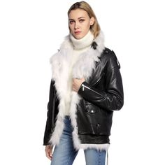 Saint Laurent Women Oversized Leather Jacket & Vest W/ Fur ($11,075) ❤ liked on Polyvore featuring outerwear, vests, fur vest, lace up vest, leather vests, lace up leather vest and yves saint laurent