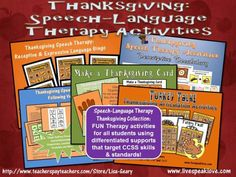 Thanksgiving Activity Sets targeting a variety of articulation and expressive & receptive language skills, all aligned with Common Core State Standards. All you need for Speech-Language Therapy in November! Speech Therapy Themes, Art Therapy Activities, Speech Language Pathology, Speech And Language, Therapy Ideas, Language Arts, Thanksgiving Activities, Happy Thanksgiving, Early Childhood Activities