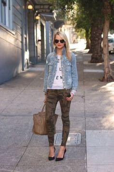 camo jeans! denim jean jacket and tee