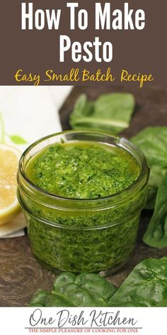 This basic spinach pesto recipe is made with fresh spinach, garlic, pine nuts, lemon juice, parmesan cheese and olive oil. Healthy and delicious! | One Dish Kitchen | #pestorecipe #spinach #smallbatch #dips #sauces #cookingforone #recipeforone #onedishkitchen #spinachpesto
