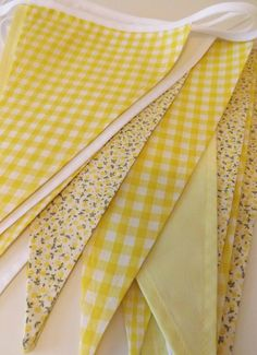 Lemon Zest gingham bunting, handmade by Tickety Boo Bunting, UK Fabric Bunting, Bunting Garland, Buntings, Gingham Wedding, Personalised Bunting, Flags For Sale, Tipi Wedding, Bias Tape, Shades Of Yellow
