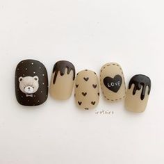 Photo by ikue in 田園調布駅 with and Funky Nail Art, Funky Nails, Cute Nails, Pretty Nails, Black Acrylic Nails, Best Acrylic Nails, Nail Art Hacks, Gel Nail Art, Korea Nail Art