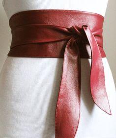 Burgundy Leather Obi Belt tulip tie Waist or Hip by LoveYaaYaa