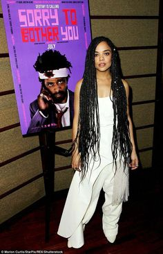Tessa Thompson at NYC event in support of her film Sorry To Bother You Striking: Tessa had her long dark locks partially braided with pearls and careening past h. Cute Box Braids, Small Box Braids, Blonde Box Braids, Short Box Braids, Jumbo Box Braids, Micro Braids, Fishtail Braids, Simple Braids, Long Braids