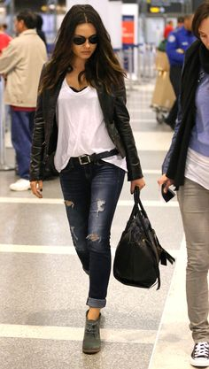 Casual - Booties - White T Shirt - Jeans - Leather Jacket
