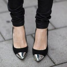 Chrome pointed toe heels