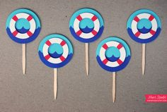 Ocean LIFE PRESERVER Cupcake Toppers, Party Picks, Toothpicks, Food Picks - CUSTOM Party Decoration (Set of 12)