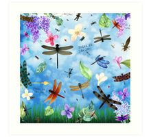 Art Print with 'There Be Dragons' whimsical dragonfly art by Nola Lee Kelsey