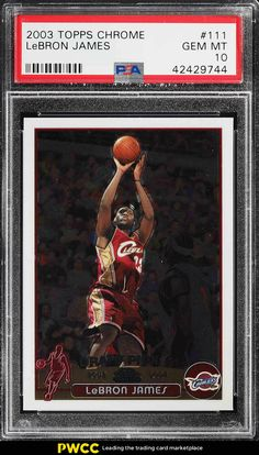 eacc36b52c3 2003 Topps Chrome LeBron James ROOKIE RC  111 PSA 10 GEM MINT (PWCC)