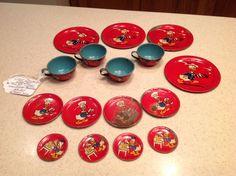 1930's 1940's Disney Chef Donald Duck Ohio Art Tin Litho Tea Set 16 Pieces RARE   eBay