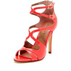 Renvy Phoebe Caged Strappy Sandal (545 ZAR) ❤ liked on Polyvore featuring shoes, sandals, heels, footwear, schuhe, neon pink patent, strappy sandals, strap high heel sandals, strappy high heel sandals y high heel sandals