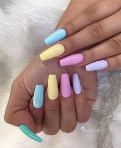 Acrylic Nails Coffin Short, Blue Acrylic Nails, Simple Acrylic Nails, Summer Acrylic Nails, Summer Nails, Winter Nails, Spring Nails, Colourful Acrylic Nails, Ballerina Acrylic Nails