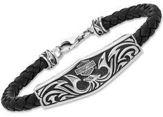 Harley Davidson Carved Eagle 925 Silver ID Style Bracelet Leather Cord