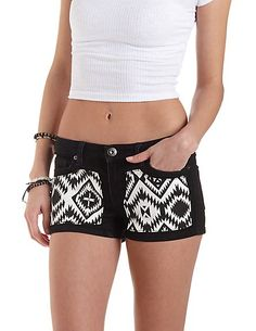 Aztec-Patched Low Rise Denim Shorts