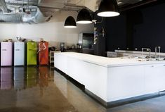 Office  Workspace: Modern Spacious Office Kitchen Design Ideas With White Sleek Countertop Kitchen Island And Modern Appliances At Airbnb Office: Inspiring Modern Offices Design in Silicon Valley