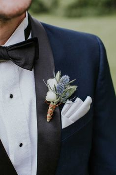 Blue and white boutonniere.