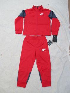 ddd8f60f3ca1 Nike Boys Tracksuit Red Grey 2 Piece Size 4   Up You Choose Size 86C627-U10  New