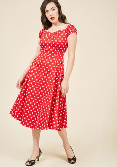 Collectif Got the Dots for You Midi Dress in Candy Apple