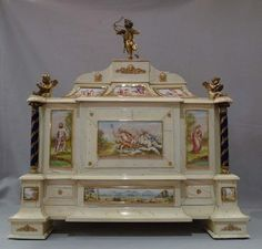 Antique Austro-Hungarian ivory, silver gilt and enamel table cabinet. at Gavin Douglas Fine Antiques Ltd. in London, specialists in antique clocks and decorative gilt bronze Austro Hungarian, Antique Clocks, Objet D'art, Casket, Silver Enamel, Cupid, Ivory, Bronze, Cherubs