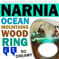 ►► NARNIA OCEAN MOUNTAINS WOOD RING ►► Jewelry Secrets