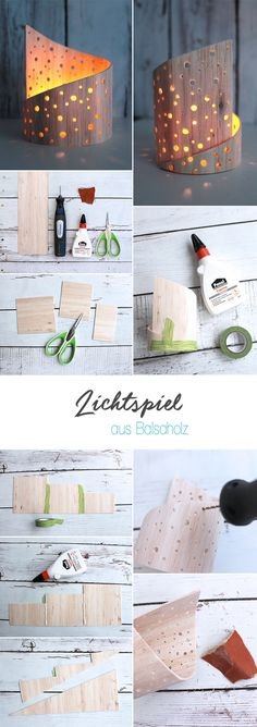 Do it yourself: Lichtspiel aus Balsaholz selbst basteln DIY, gingered things, decoration, play of li Wooden Crafts, Wooden Diy, Luminaria Diy, Deco Nature, Diy Crafts To Do, Diy Holz, Kids Wood, Diy Candles, Woodworking Crafts