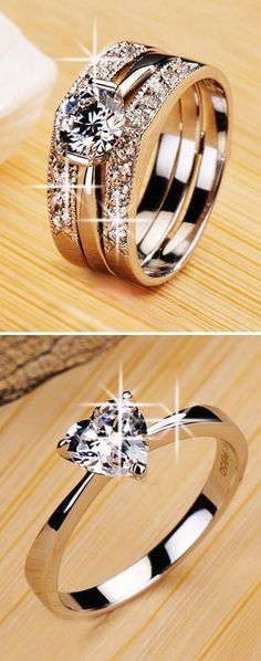 Jewelry Cleaner - Amazing - Instyle Fashion One bridal styles ♥✤ Diamond Rings, Diamond Jewelry, Jewelry Rings, Jewelry Accessories, Fine Jewelry, Jewelry Design, Silver Jewellery, Silver Rings, Clean Jewelry