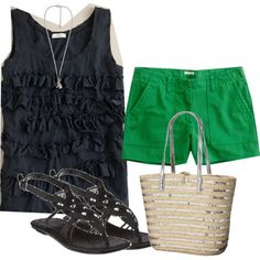 My green shorts with navy tank. And for fall add white blazer.