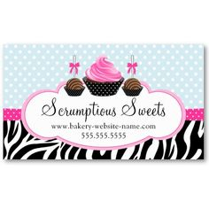 Sassy zebra stripe cupcake business card cupcake business cards cards wajeb Images