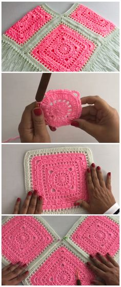- Granny square poncho - Learn to Crochet - Crochet Kingdom, crochet square afghan - Point Granny Au Crochet, Poncho Au Crochet, Crochet Poncho Patterns, Granny Square Crochet Pattern, Crochet Squares, Knitting Patterns, Crochet Hats, Free Crochet Square, Crochet Blocks