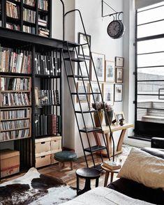 "Stair Step Bookcase tri-arc 12-step steel stair unit, serrated step tread, 120"" top"
